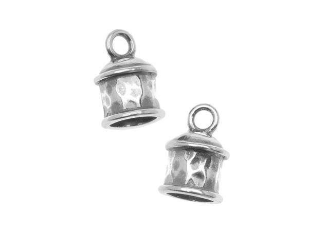 Antiqued Silver Plated Hammered Cord Ends 12mm (2)