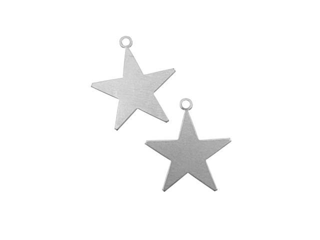 Silver Color Nickel Alloy Star Shaped Pendant Blanks - 23.5x21.5mm 24 Gauge (2)