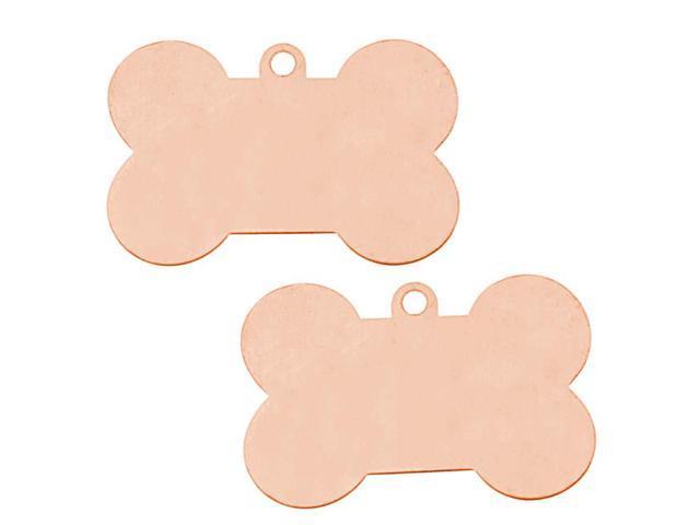 Solid Copper Large Dog Bone Pendant Stamping Blanks - 41x27mm 24 Gauge (2)