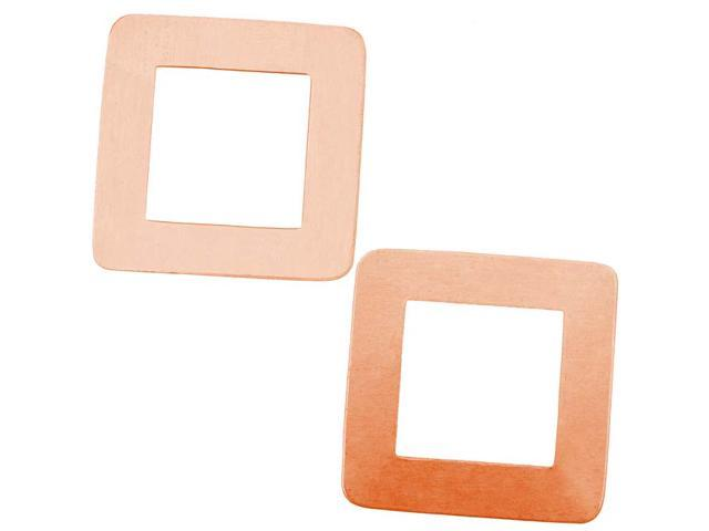 Solid Copper Large Open Square Stamping Blanks - 29x29mm 24 Gauge (2)