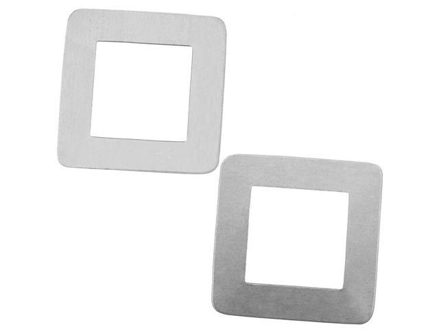 Silver Color Nickel Alloy Large Open Square Blanks - 29x29mm 24 Gauge (2)