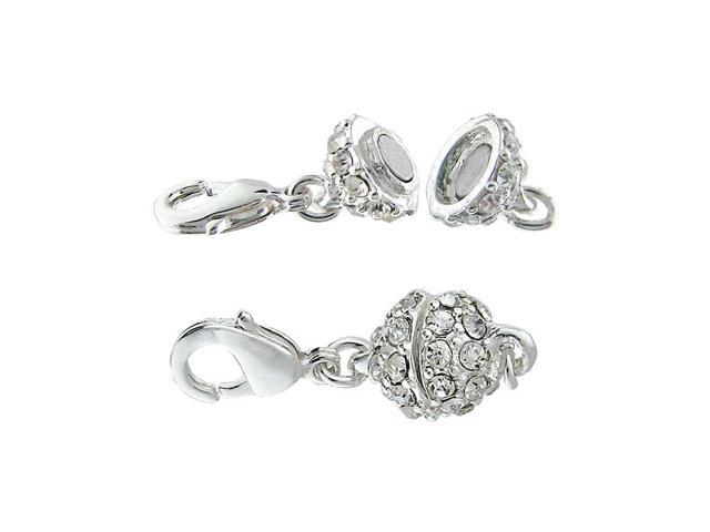 Beadelle Crystal 8mm Round Pave Magnetic Clasp Silver Plated / Crystal (1 Piece)
