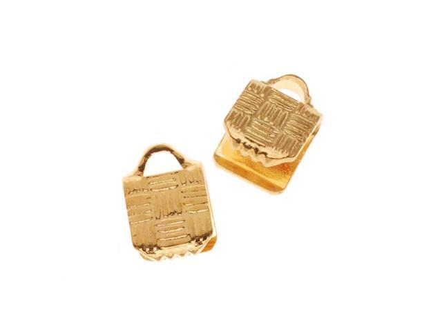 22K Gold Plated Ribbon Pinch Crimp Cord Ends 5 x 5mm (10 Pieces)
