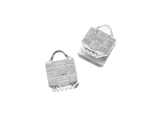 Silver Plated Ribbon Pinch Crimp Cord Ends 5 x 5mm (10 Pieces)