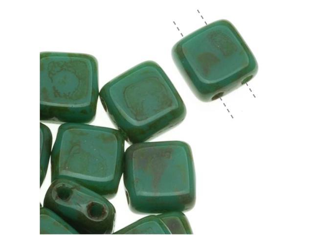 CzechMates Glass 2-Hole Square Tile Beads 6mm 'Persian Turquoise Picasso' (1 Strand)
