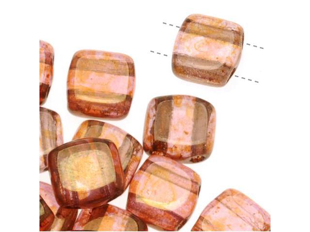 CzechMates Glass 2-Hole Square Tile Beads 6mm 'Rose / Gold Topaz Luster' (1 Strand)