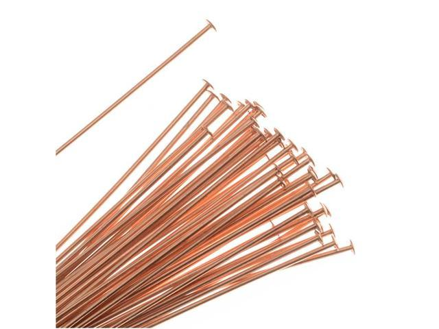 Head Pins, 1.5 Inches Long and 22 Gauge Thick, 50 Pcs, Copper