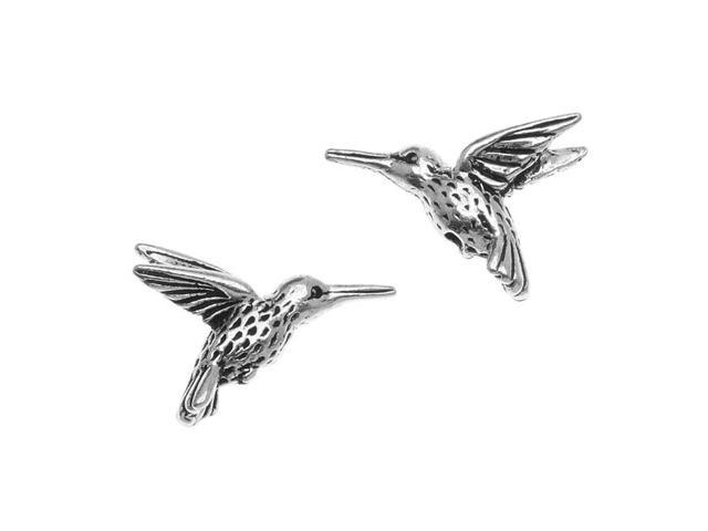 Fine Silver Plated Pewter Hummingbird Beads 13mm (2)
