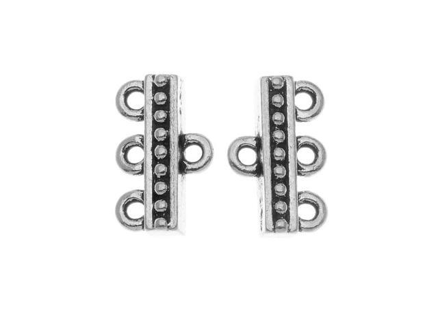 Fine Silver Plated Pewter 3-Strand Reducer Bead Bars 14.8mm (2)