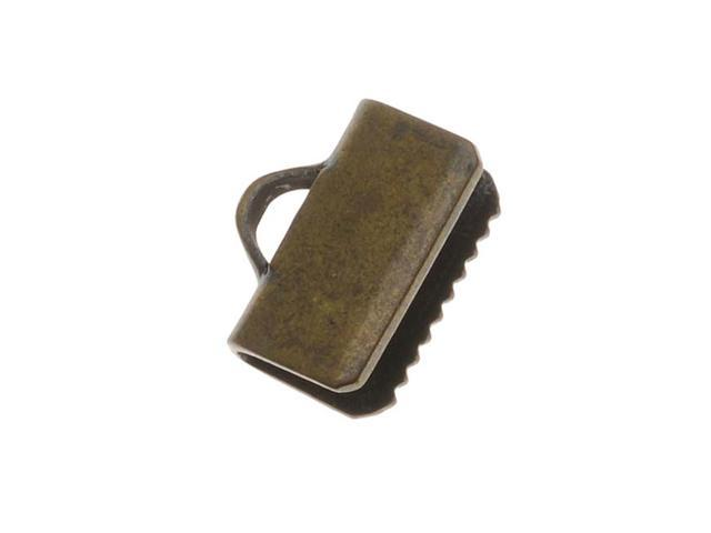 Antiqued Brass Ribbon Pinch Crimps Cord Ends 3/8In. (20 Pieces)