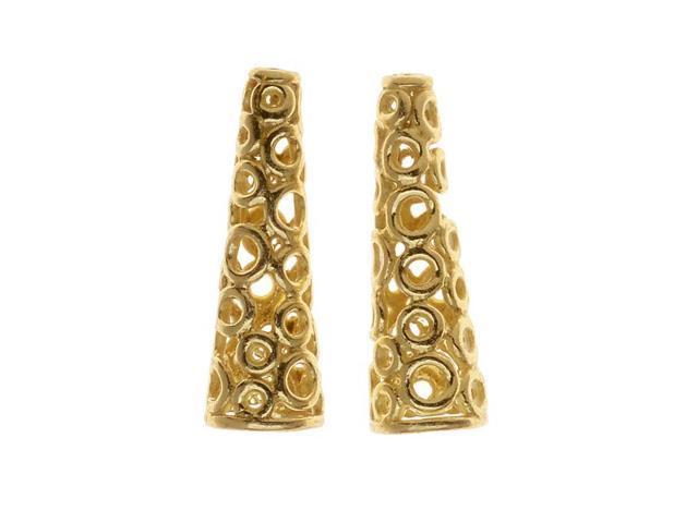 Gold Tone Brass Filigree Beading Cone Notarnish 19mm (2)