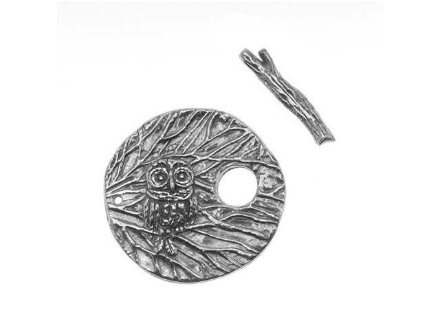Green Girl Studios Toggle Clasp, 26mm Round Owl Branch, 1 Set, Pewter