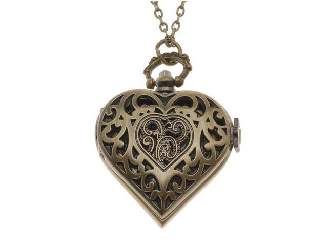 Steampunk Pocket Watch Pendant - Heart With Filigree Lid And Chain - 53x41mm