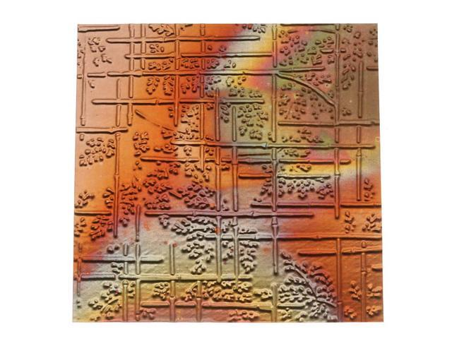 Lillypilly Copper Sheet Metal Bamboo Embossed Flamed Patina 36 Gauge - 3x3 In Sheet