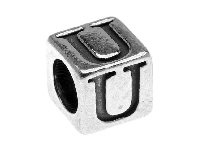 Sterling Silver, Alphabet Cube Bead Letter 'U' 4.5mm, 1 Piece, Antiqued