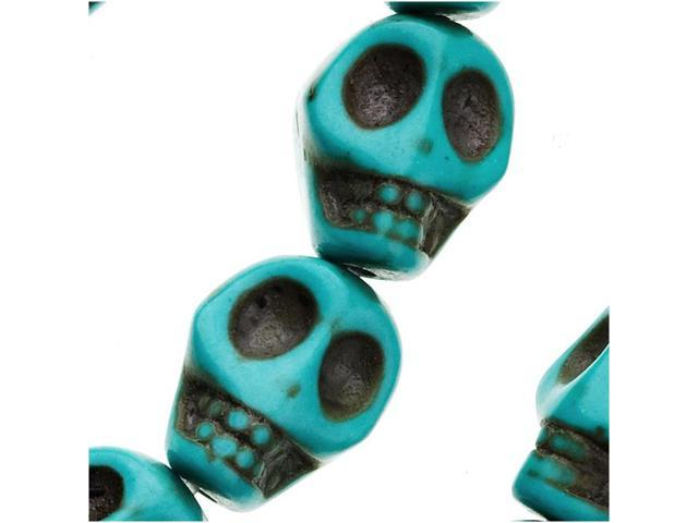 Turquoise Magnasite Carved Skull Gem Beads 10X12mm (10)