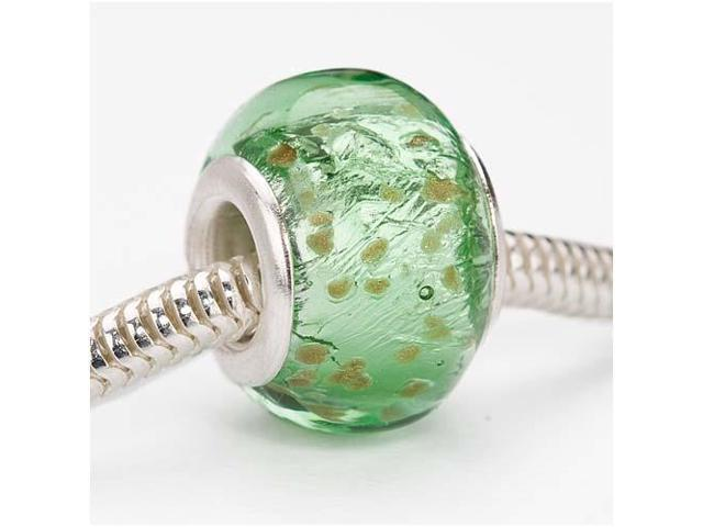 Glass Silver Foil Lampwork Euro Style Large Hole Bead - Mint Green 14mm (1)