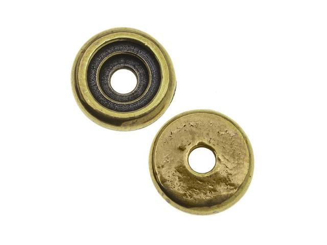 Brass Oxide Finish Lead-Free Pewter Rivetable Glue In Cup Bead 10mm - Pack of 2