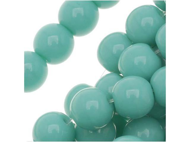 Czech Glass Druk Round 6mm Op Green Turquoise 50 Beads
