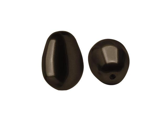 Swarovski Crystal, #5821 Pear Shaped Faux Pearl Beads 11mm, 4 Pieces, Deep Brown