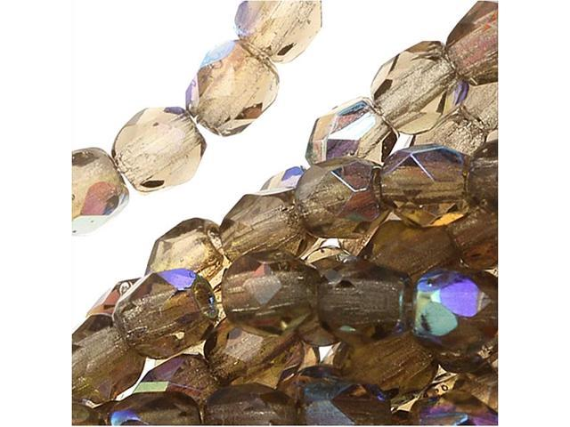 Czech Fire Polished Glass Beads 3mm Smoke Topaz AB (50 Pieces)