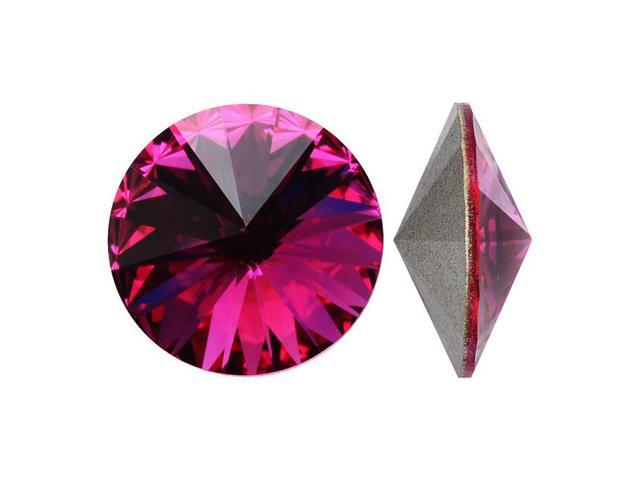 Swarovski Crystal, #1122 Rivoli Fancy Stones 12mm, 4 Pieces, Fuchsia Sf