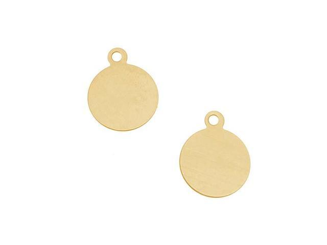 Brass Stamping Blank, Circle With Loop 14mm, 2 Pieces, Brass