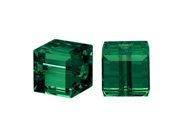 Swarovski Crystal, #5601 Cube Beads 4mm, 10 Pieces, Emerald Green