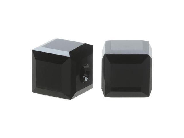 Swarovski Crystal, #5601 Cube Beads 4mm, 10 Pieces, Jet Black