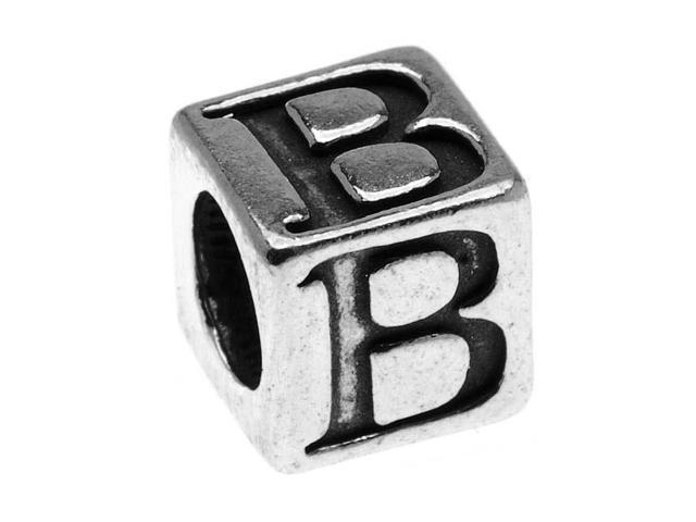 Sterling Silver, Alphabet Cube Bead Letter 'B' 5.5mm, 1 Piece, Antiqued