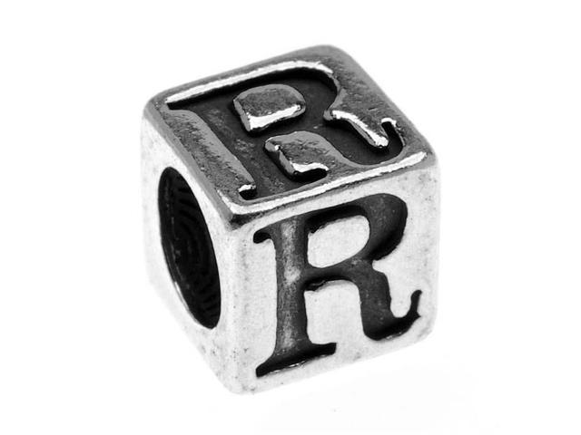 Sterling Silver, Alphabet Cube Bead Letter 'R' 5.5mm, 1 Piece, Antiqued