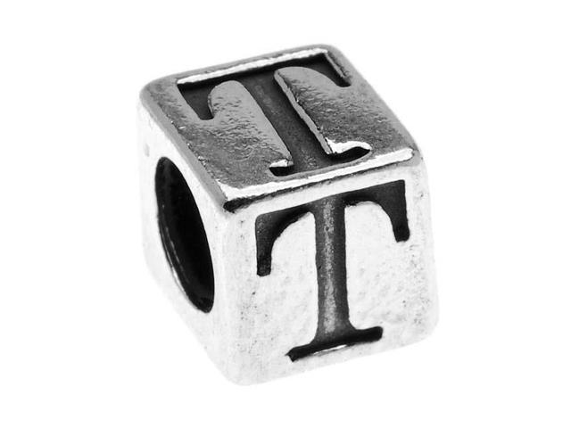 Sterling Silver, Alphabet Cube Bead Letter 'T' 5.5mm, 1 Piece, Antiqued