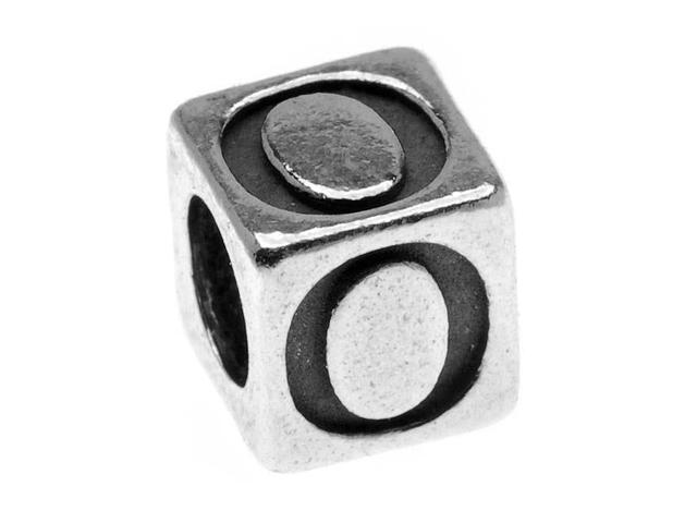 Lead-Free Pewter Alphabet Bead, Letter 'O' 5.5mm Cube, 1 Piece, Antiqued Silver