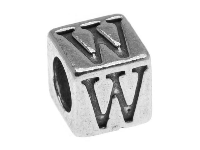 Lead-Free Pewter Alphabet Bead, Letter 'W' 5.5mm Cube, 1 Piece, Antiqued Silver