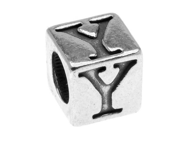Lead-Free Pewter Alphabet Bead, Letter 'Y' 5.5mm Cube, 1 Piece, Antiqued Silver