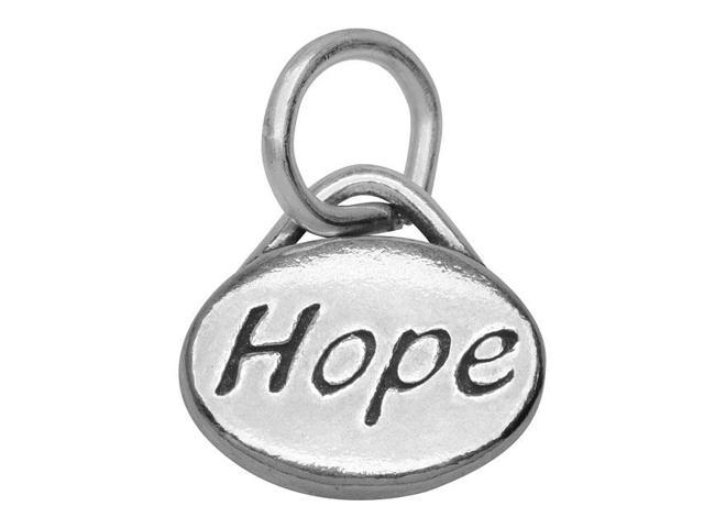 Lead-Free Pewter Message Charm, 'Hope' 11x8mm, 1 Piece, Antiqued Silver