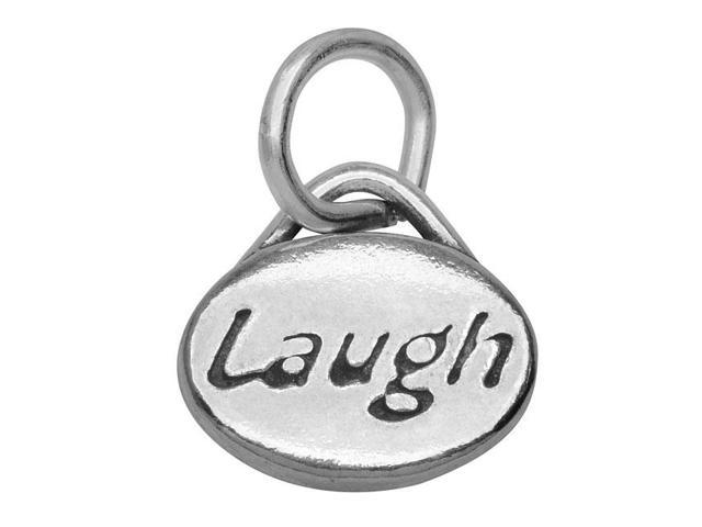 Lead-Free Pewter Message Charm, 'Laugh' 11x8mm, 1 Piece, Antiqued Silver
