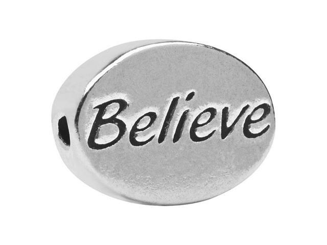 Lead-Free Pewter Message Bead, 'Believe' 11x8mm, 1 Piece, Antiqued Silver