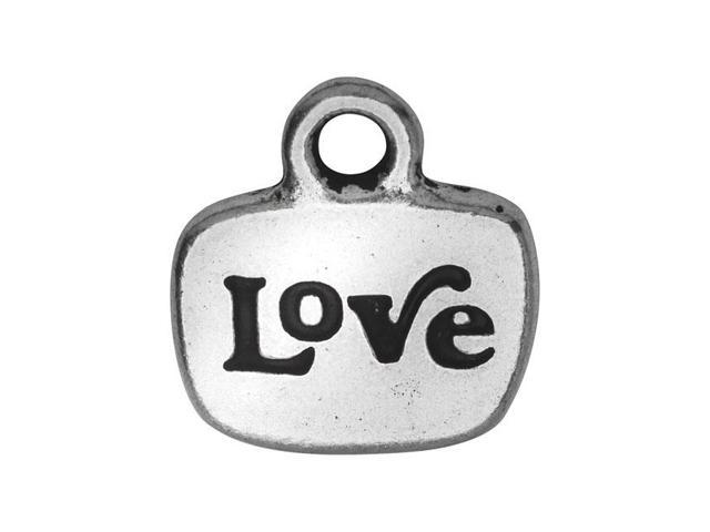 TierraCast Message Charm, Love with Glue In Space 14mm, 1 Piece, Silver Plated