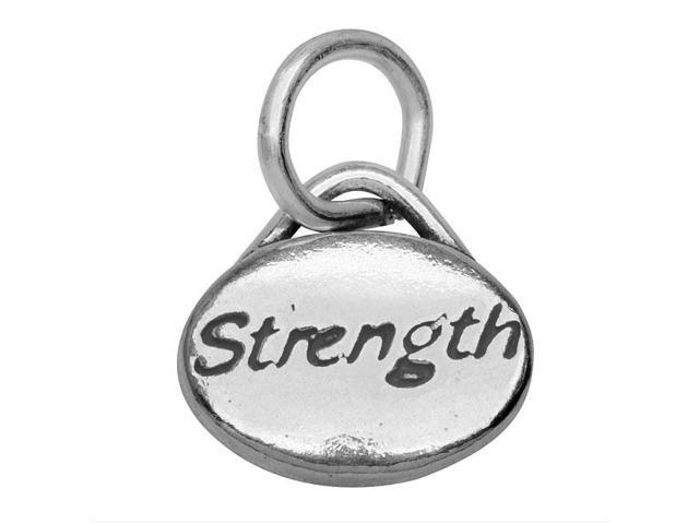 Sterling Silver Message Charm, 'Strength' 11x8mm, 1 Piece, Antiqued Silver