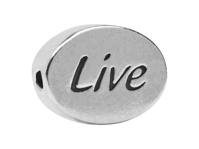 Lead-Free Pewter Message Bead, 'Live' 11x8mm, 1 Piece, Antiqued Silver