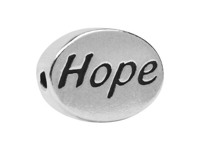 Lead-Free Pewter Message Bead, 'Hope' 11x8mm, 1 Piece, Antiqued Silver