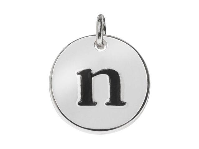 Lead-Free Pewter, Round Alphabet Charm Letter 'n' 13mm, 1 Pc., Silver Plated