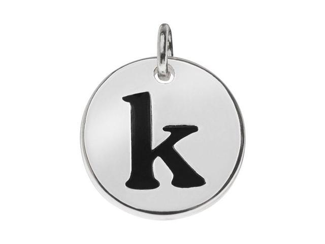 Lead-Free Pewter, Round Alphabet Charm Letter 'k' 13mm, 1 Pc., Silver Plated
