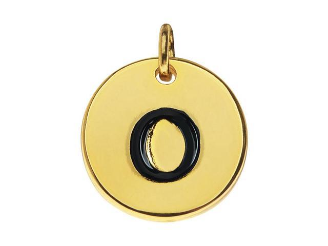 Lead-Free Pewter, Round Alphabet Charm Letter 'o' 13mm, 1 Pc., Gold Plated