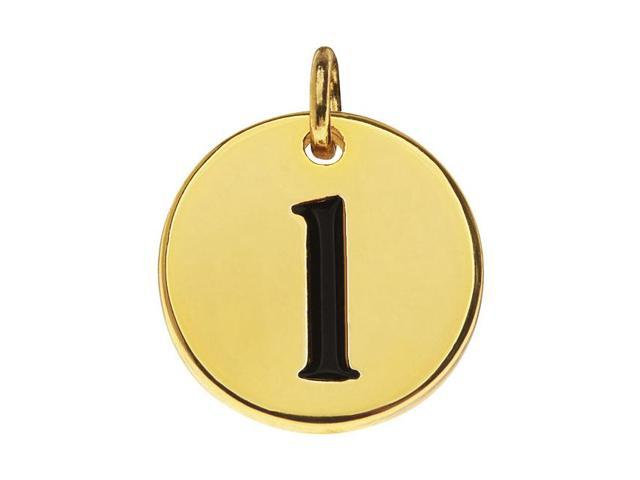 Lead-Free Pewter, Round Alphabet Charm Letter 'l' 13mm, 1 Pc., Gold Plated