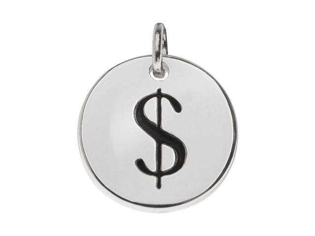 Lead-Free Pewter, Round Symbol Charm Dollar Sign '$' 13mm, 1 Piece, Silver Plated