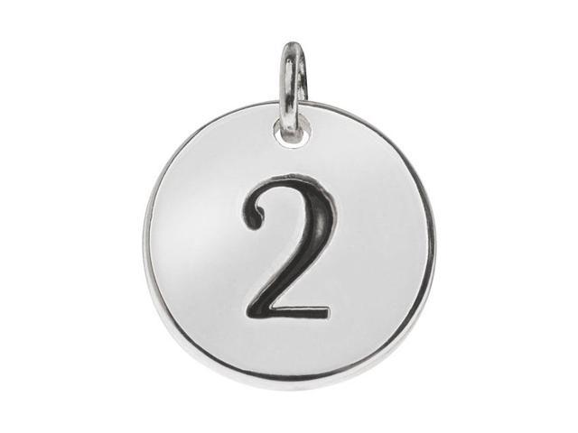 Lead-Free Pewter, Round Number Charm '2' 13mm, 1 Piece, Silver Plated