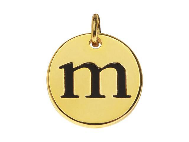 Lead-Free Pewter, Round Alphabet Charm Letter 'm' 13mm, 1 Pc., Gold Plated
