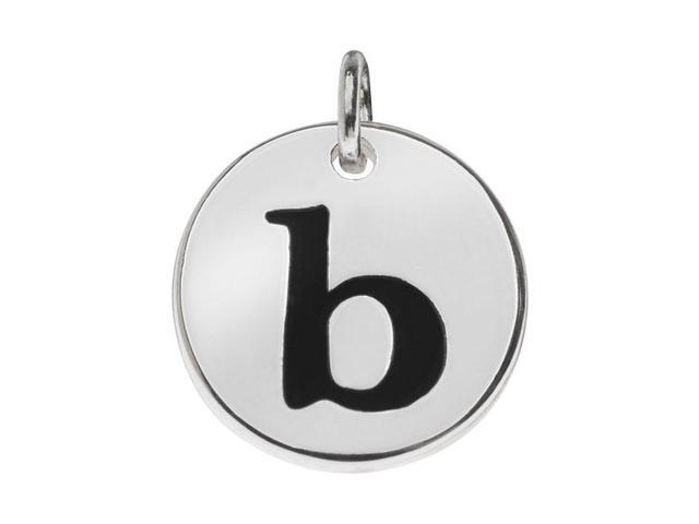 Lead-Free Pewter, Round Alphabet Charm Letter 'b' 13mm, 1 Pc., Silver Plated